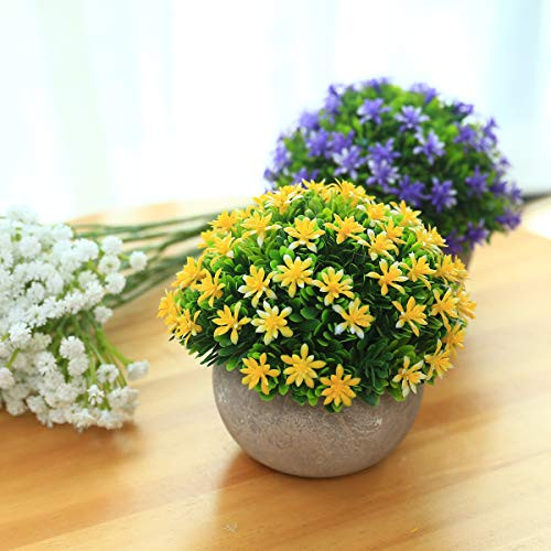 2 Packs Small Fake Plants Artificial Mini Potted Plants