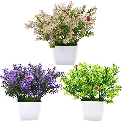 3 Packs Artificial Potted Clover Plants Mini Fake Plastic