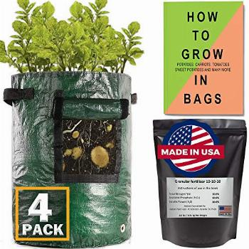 (4 Pack) Potato Grow Bags 10 Gallon Heavy Duty + Made in USA