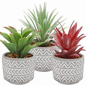 Artificial Plants in Pot, Set of 3 Artificial Plants in