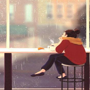 Cafe Painting - Poster - Coffee - Girl Drinking Coffee - Colorful - Rainy Day - Fall - Autumn - Wal