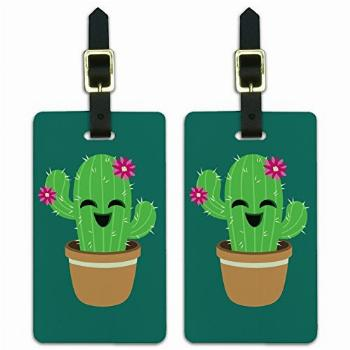 Cute Cactus in Pot with Pink Flowers Luggage ID Tags