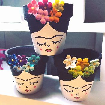 Excited to share this item from my shop: Painted pots frida kahlo small succulent pots x3