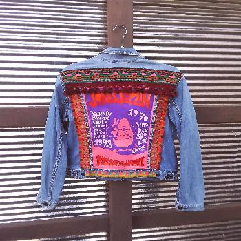 painted 60s psychedelic Janis Joplin concert poster on Levi's denim jean ja... Hand painted 60s psy