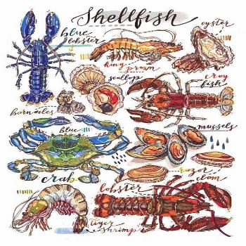 print. Kitchen decor. Fish art. Food art. Lobster. Crab. Oyster. Crustaceans. Fish shop. Types of s