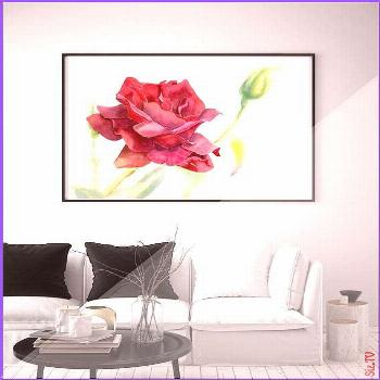 Red rose Art print Watercolor flower painting Floral artwork Wall art room decor Gift Single Rose P