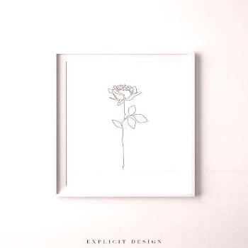 Rose Drawing Printable, Abstract Minimalist Art, Thin White Roses Print, Fine Line Flower Wall Prin