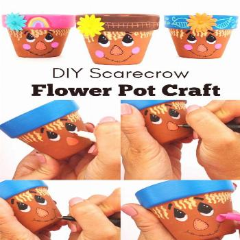 Scarecrow Flower Pot Craft • Color Made Happy