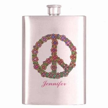 Sign Symbol Personalized Hip Flask - Have a bright and cheery day.Flower Peace Sign Symbol Personal