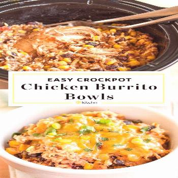 Slow-Cooker Chicken Burrito Bowls Recipe. This EASY crockpot chicken dinner is soon to be one of yo