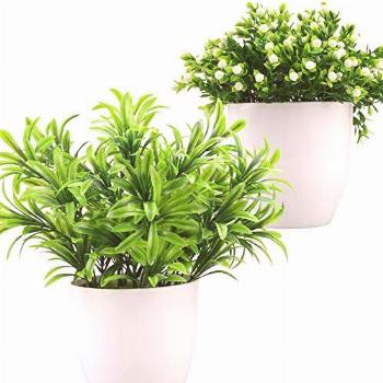Summer flower 2 Pack Artificial Potted Plants with White