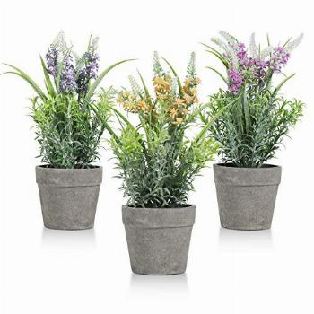 T4U Artificial Lavender Potted Plant(3PCS), Fake Flowers in