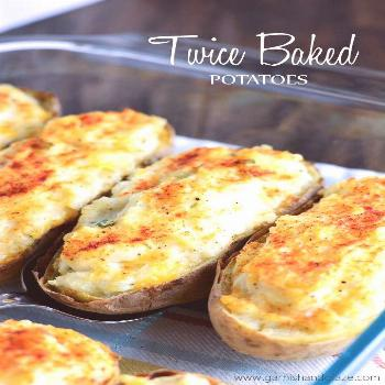 Twice-baked-potatoes. I used six potatoes instead of four, but did not increase the sour cream or c
