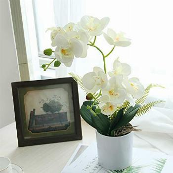 U'Artlines Artificial Orchid in White Pot Fake Phalaenopsis