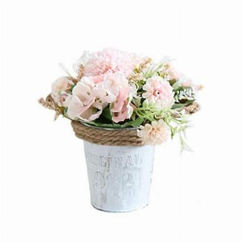 UUPP Potted Artificial Hydrangea Rose Flowers Bonsai Plant