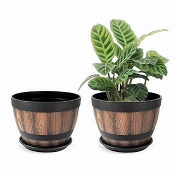 Whiskey Barrel Planter with Drainage Holes & Saucer, Ideal