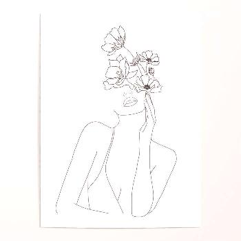 Woman face with flower illustration art print poster -  Woman's face with flower illustration art p