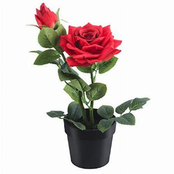 WOODWORD Artificial Flowers - Fake Rose Flowers in Pot -