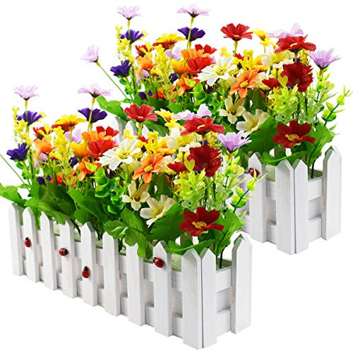 Artificial Flower Plants - Mixed Color Daisies in Picket