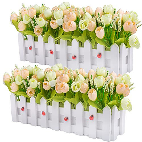 Artificial Flower Plants - Roses and Rosebuds in Picket