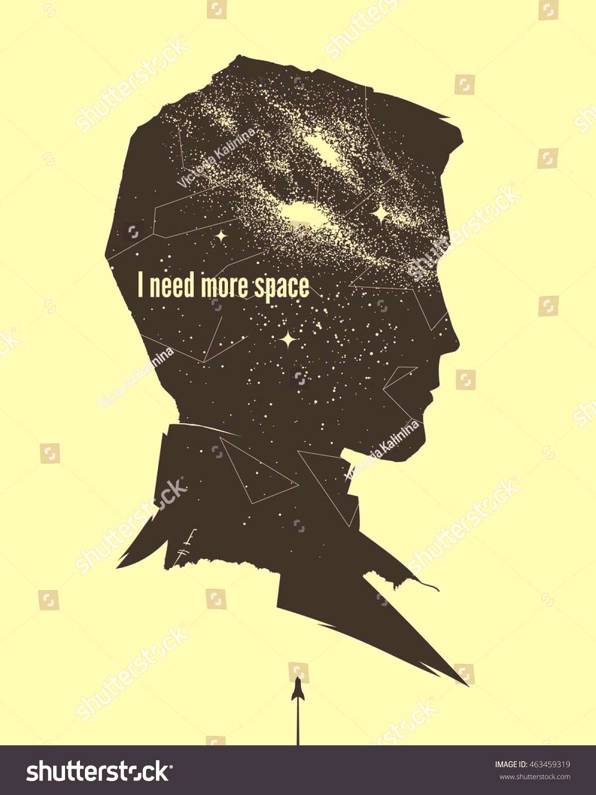 astronomical poster with man profile ,Vintage astronomical poster with man profile , Glitch, Neon