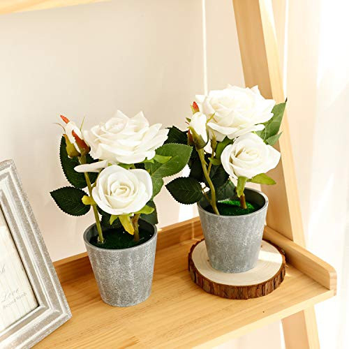Azoco Set of 2 Artificial Flowers with Vase, Fake Flowers in
