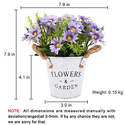 CASMON Potted Artificial Daisies Flowers in Metal Pot, Fake