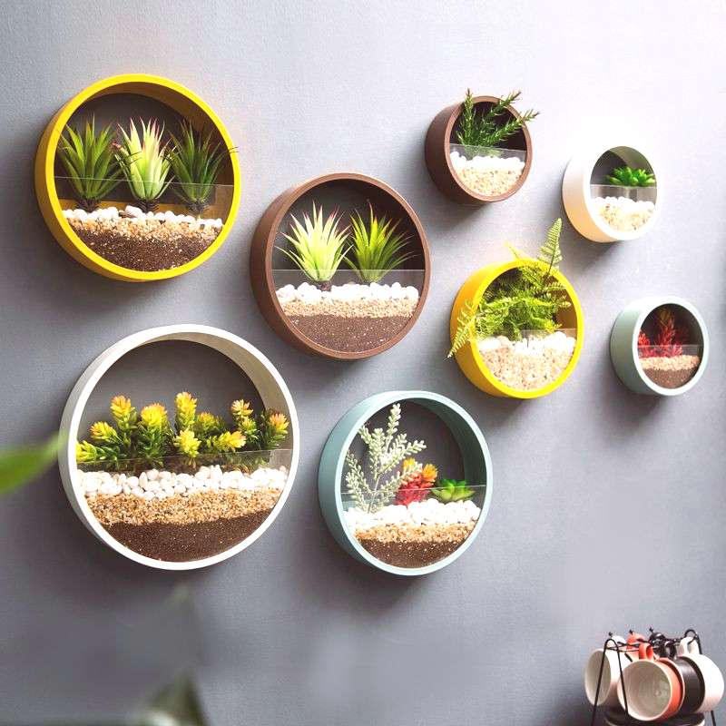 Creative restaurant wall decoration decoration wall plant wrought iron wall hanging flower tea shop