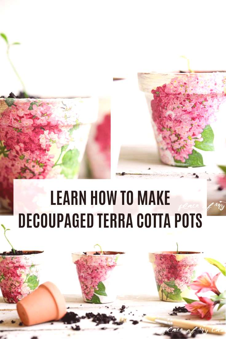 Decoupaging your planters is easier than you think! You can change up the decor of your room while