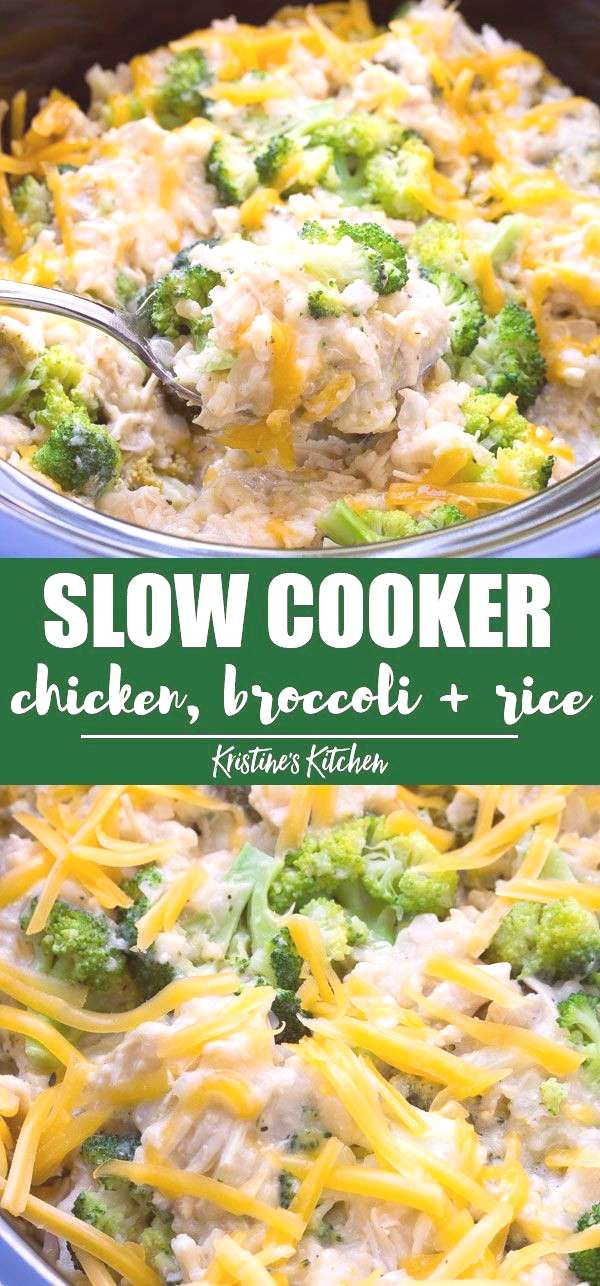 Easy Slow Cooker Chicken, Broccoli and Rice Casserole with cheese! Cheesy and creamy and made in th