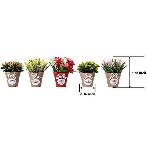 LUEUR Set of 6 Potted Artificial Flowers Fake Lavender