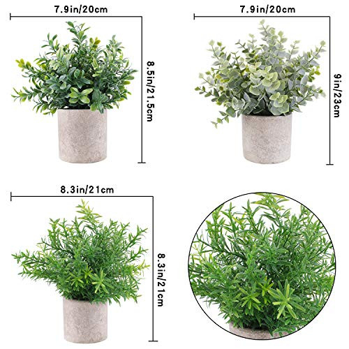 OUTLEE 3 Pack Mini Artificial Potted Plants Faux Eucalyptus