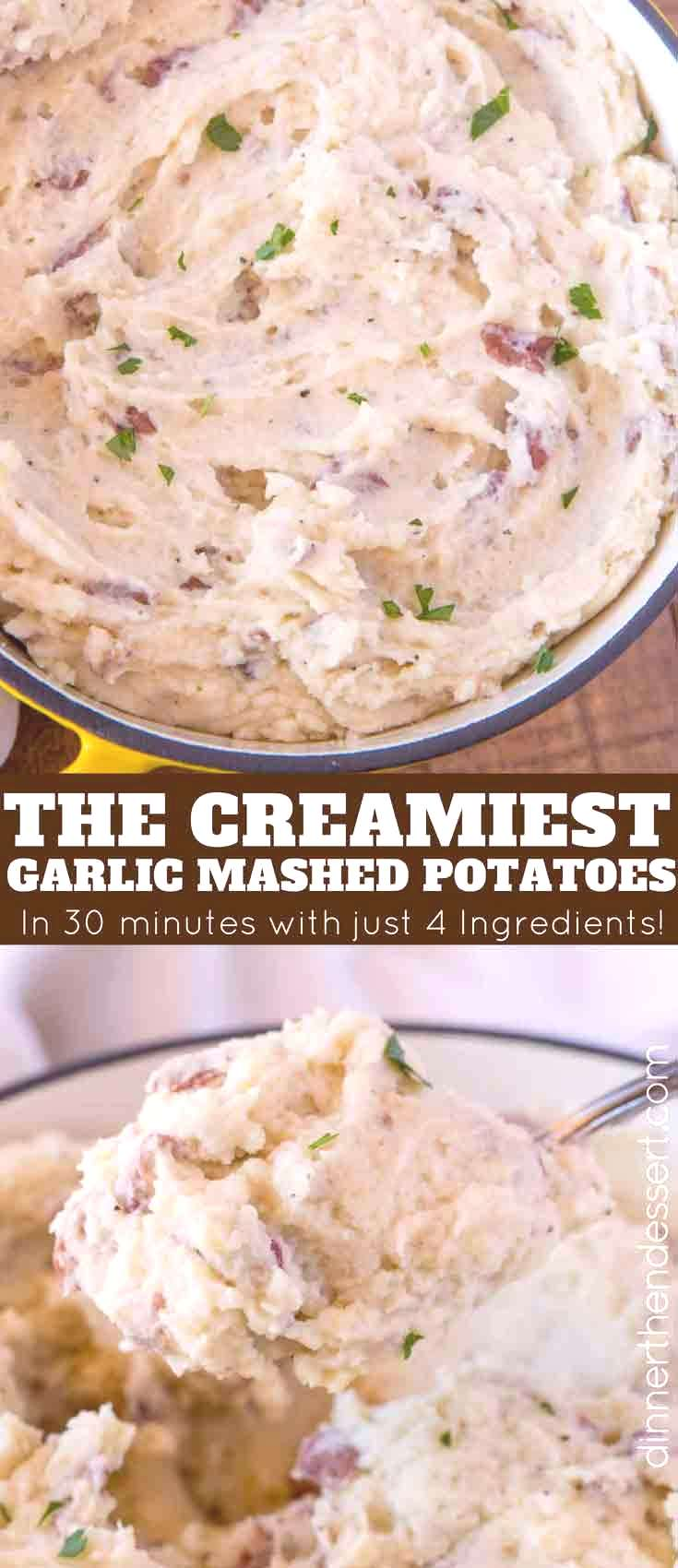 Perfectly easy and classic creamy Garlic Mashed Potatoes made with red bliss potatoes, garlic, milk