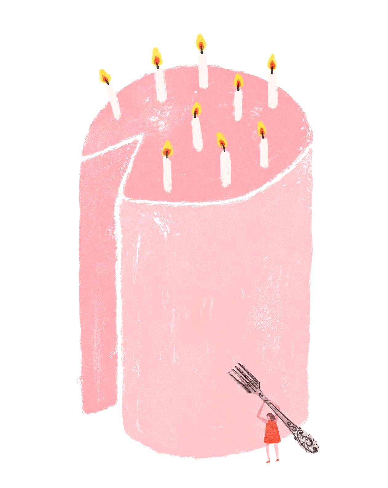 quotPink birthday cake with candlesquot | Illustration wall art | Art for happy walls | Shop colourful fi