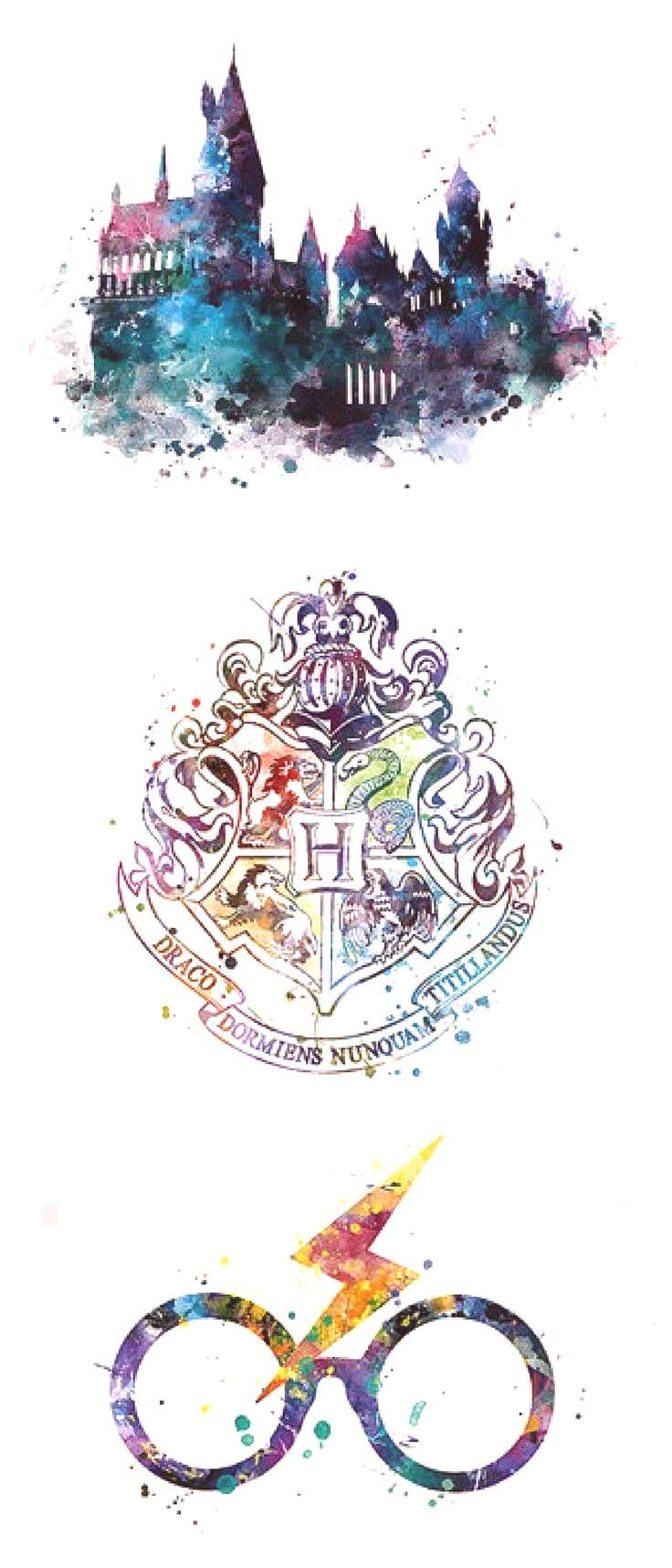 Potter printable wall art   Hogwarts, house crests, glasses and scar   Watercolor home decor   Dorm