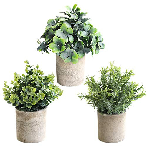 THE BLOOM TIMES Set of 3 Small Potted Artificial Plants Fake