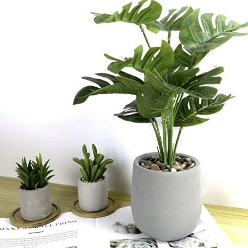 Tuokor 16quot Small Artificial Greenery Plants Palm Green Leaf