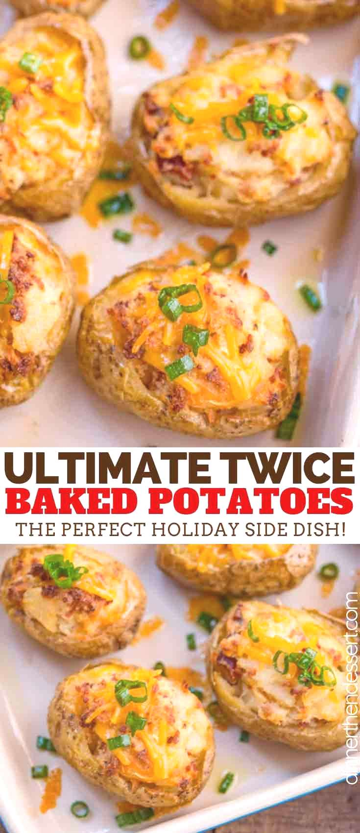 Twice Baked Potatoes made with russet potatoes, cheddar cheese, sour cream, and bacon are creamy on