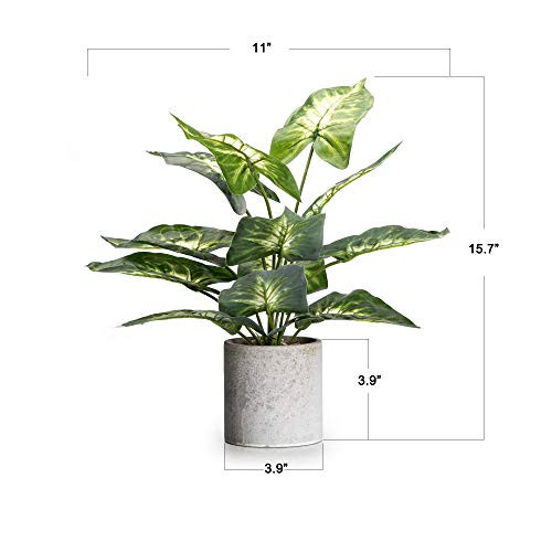 Velener 16quot Artificial Potted Green Leaf Plant in Pot for