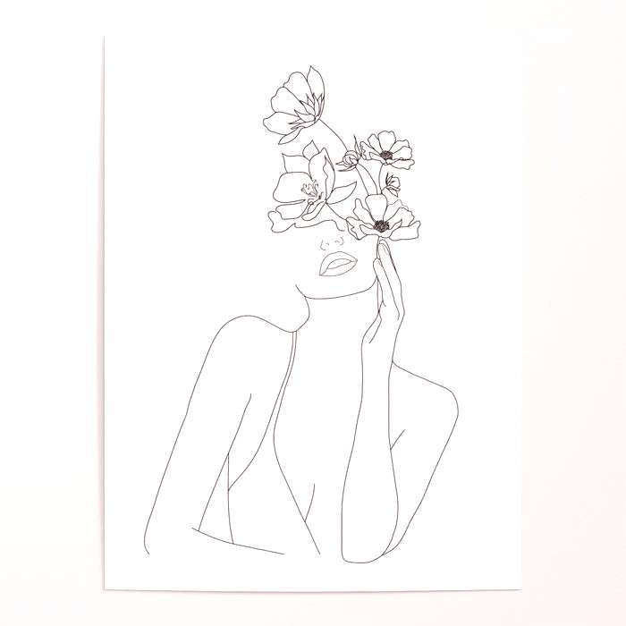 Woman face with flower illustration art print poster - Womans face with flower illustration art p